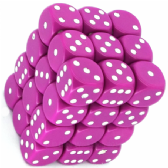 Fuchsia & White Opaque 12mm D6 Dice Block